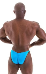 Fitted Pouch - Puckered Back - Posing Suit in Wet Look Turquoise 6