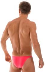 Skinny Side Half Back Swim Suit in Semi Sheer ThinSkinz Coral 3
