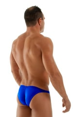 Fitted Pouch Puckered Back Bikini Swimsuit in Wet Look Royal Blue 3