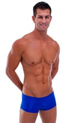 Extreme Low Square Cut Swim Trunks in Wet Look Royal Blue 1