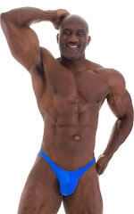 Posing Suit - Fitted Pouch - Puckered Back in Wet Look Royal Blue 6