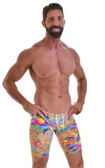 Swim-Dive Competition Watersports Shorts in ThinSKINZ Neon Dali 3