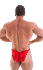 Fitted Pouch - Puckered Back - Posing Suit in Wet Look Lipstick Red 3
