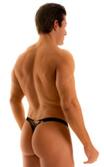 Color Blocked T Back Thong Swimsuit in Camo Print on Mesh and Black Mesh 2