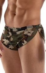 Swimsuit Cover Up Split Running Shorts in Mesh Camouflage 4