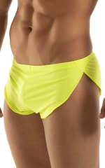 Swimsuit Cover Up Split Running Shorts in Semi Sheer ThinSkinz Neon Chartreuse 4