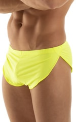 Swimsuit Cover Up Split Running Shorts in Semi Sheer ThinSkinz Neon Chartreuse 6