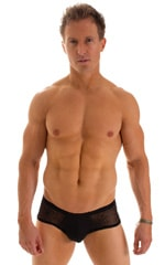 Pouch Enhanced Micro Square Cut Swim Trunks in Super ThinSKINZ Black and Spiderweb Mesh 1