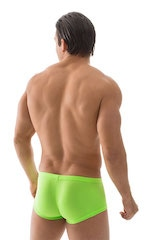Extreme Low Square Cut Swim Trunks in ThinSKINZ Neon Lime 3
