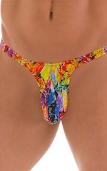 T Back Thong Swimsuit - Bravura Pouch in Super ThinSKINZ Neon Riot 5
