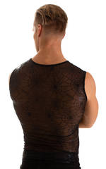 Sleeveless Lycra Muscle Tee in Spiderweb Stretch Mesh 2