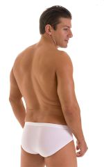 Pouch Brief Swimsuit in White Powernet and Super ThinSKINZ White 3