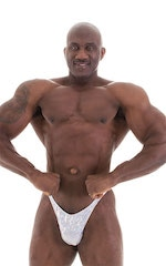 Bodybuilder Posing Suit - Narrow Back in Holographic White Silver 5