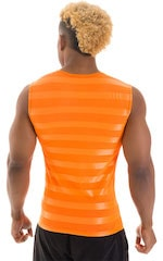 Sleeveless Lycra Muscle Tee in Orange Satin Stripe Mesh 3