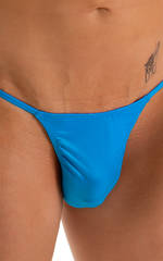 Smooth Pouch Skinny Sides Swim Thong in Wet Look Turquoise 3