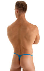 Smooth Pouch Skinny Sides Swim Thong in Wet Look Turquoise 2