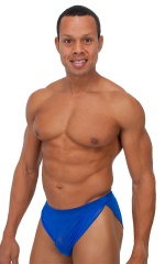 Swimsuit Cover Up Split Running Shorts in Royal Blue Stretch Mesh 1