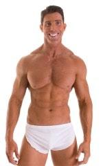 Swimsuit Cover Up Split Running Shorts in Super ThinSKINZ White 1