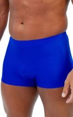 Square Cut Seamless Swim Trunks in Wet Look Royal Blue Fabric
