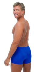 Square Cut Seamless Swim Trunks in Wet Look Royal Blue 3