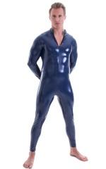 Full Bodysuit Zentai Lycra Spandex Suit for men in Gloss Navy Blue Superstretch Vinyl 4