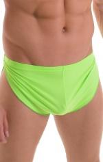 Swimsuit Cover Up Split Running Shorts in ThinSKINZ Lime 4