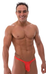 T Back Thong Swimsuit - Bravura Pouch in Semi Sheer ThinSKINZ Apricot 1