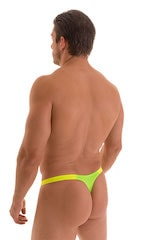 Color Blocked T Back Thong Swimsuit in ThinSKINZ Neon Lime and Chartreuse 3