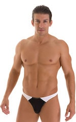 Color Blocked T Back Thong Swimsuit in Super ThinSKINZ Black and White 1