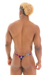 Smooth Pouch Skinny Sides Swim Thong in Gravity Wave 3