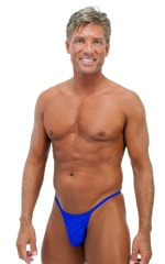 Smooth Pouch Skinny Sides Swim Thong in Wet Look Royal Blue 1
