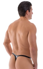 T Back Thong Swimsuit - Bravura Pouch in Gloss Black Stretch Vinyl 3