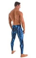 Mens Low Rise Leggings Tights in Laser Blue Lightning 2