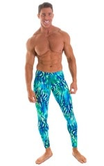 Mens Low Rise Leggings Tights in Beach Tiger Blue-Green 1