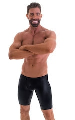 Fitted Pouch Lycra Shorts in Wet Look Black 1