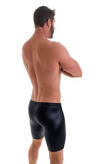 Fitted Pouch Lycra Shorts in Wet Look Black 3
