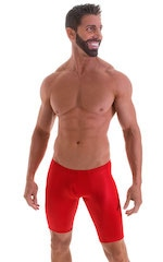 Fitted Pouch Lycra Shorts in Wet Look Lipstick Red 1