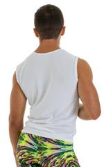 Sleeveless Lycra Muscle Tee in Gloss White Mesh PowerNet 3