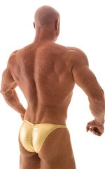Fitted Pouch - Puckered Back - Posing Suit in Metallic Liquid Gold 6