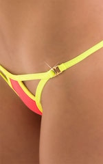 Twin Tip Micro G String Thong Swim Bottom in ThinSKINZ Neon Coral 5