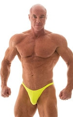 Fitted Pouch - Puckered Back - Posing Suit in Neon Chartreuse 1