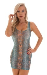 Micro Mini Dress in Aqua Python Print on Mesh 3