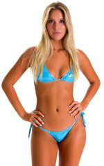 Side Tie Scrunch Bottom in Ice Karma Turquoise Shimmer 3