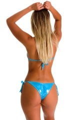 Side Tie Scrunch Bottom in Ice Karma Turquoise Shimmer 2