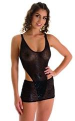 Micro Mini Skirt in Semi Sheer Black Spiderweb on mesh 4