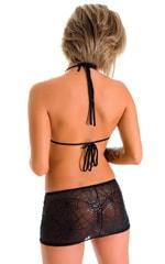 Micro Mini Skirt in Semi Sheer Black Spiderweb on mesh 2