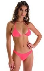 Brazilian Triangle Swim Top in Semi Sheer ThinSkinz Neon Coral 9