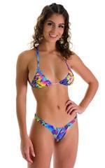 Brazilian Triangle Swim Top in Mind Visions Rainbow 7