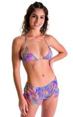 SusieQ Split Short Beach Cover-Up in Jungle Palms Lavender 1