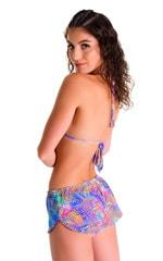 SusieQ Split Short Beach Cover-Up in Jungle Palms Lavender 2